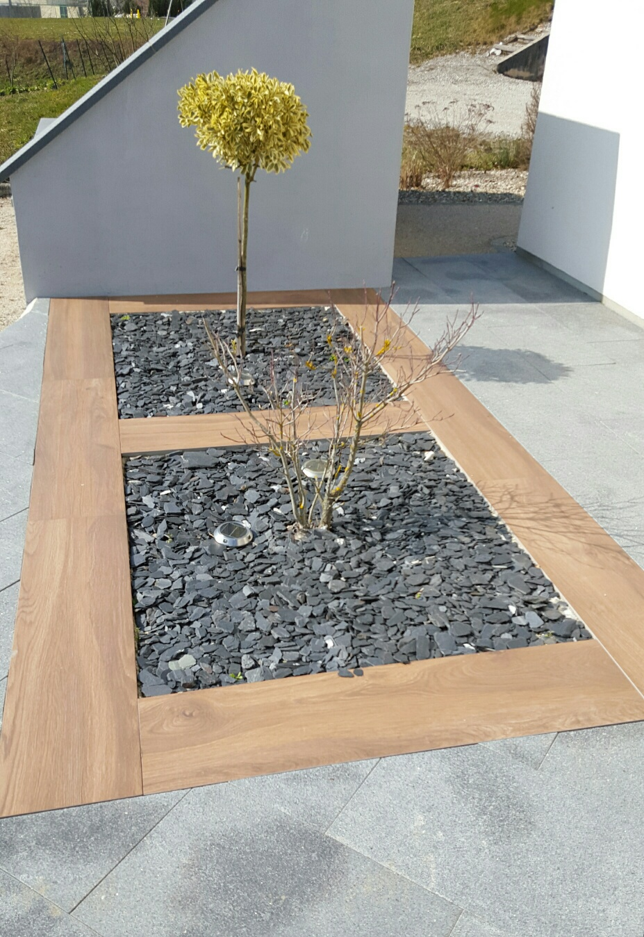 jardin minral ralis en dalles grs cram type mirage evo cm imitation bois with dalle mirage evo 2. Black Bedroom Furniture Sets. Home Design Ideas