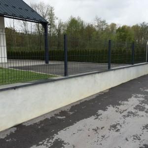 aménagement d'un grillage rigide anthracite sur murette par l'entreprise Cuinet à Tarcenay